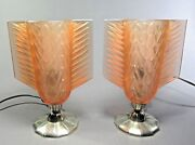 French Pierre D'avesn Art Deco Glass Accent Lamps Ca.1930's Lalique Sabino Style