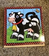 Melissa And Doug Farm Cube Puzzle Animals Horse-cow-pig-chicken-duck-sheep