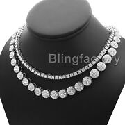 Hip Hop Iced Fashion 18 Flower Cluster And 1 Row Tennis Choker Chain Necklace Set