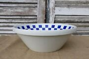Rare Antique French Glazed Blue And White Pottery Bowl Tian By Luneville