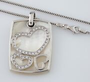14k White Gold Mother-of-pearl And Diamond Heart Pendant W/ 17 Chain