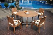 Dslg A-grade Teak 5pc Dining Set 60 Round Table 4 Arm Chair Outdoor Patio