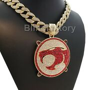 Hip Hop Iced Thunder Cat Pendant And 18 Full Iced Cuban Choker Chain Necklace