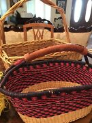 A Lot Of 2 Baskets - African Market Basket And Hand-woven Starbucks Gifts Basket