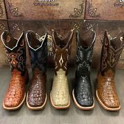 Menand039s Rodeo Cowboy Alligator Neck Boots Genuine Leather Western Square Toe
