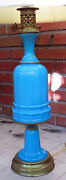 Antique Baluster Form Blue Opaque Alacite Milk Glass Table Lamp 37.5