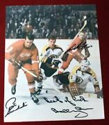 1970and039s Boston Bruins Detroit Red Wings Game Action Photo Signed X 3 Bobby Orr