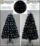 Led Fibre Optic Christmas Tree Pre-lit Xmas Home Diamond Lights Decorations