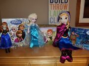 Huge Lot Disney Frozen Toys Dolls Anna Doll And Elsa Plush And Books