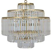 25 W Chandelier Cut Glass Crystals Hang From 5 Tier Antique Brass Frame