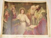 Rare Jesus Among The Doctors Antique Irish Convent Holy Picture 20x15in Bible