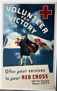Authentic 1940's Wwii Poster- Red Cross Recruiting Volunteers W/ Red Cross Nurse