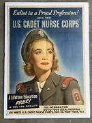 Authentic 1943 Wwii Poster-- Us Cadet Nurse Corps Recruiting Poster