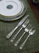 Gorgeously Elegant 16 Pieces Milburn Rose Sterling Flatware For 4 People