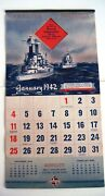 Fantastic 1942 Ad Calendar Skelly Gasoline W/ Military Ships,planes And Tanks