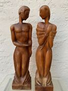 Pair Of Carved And Limed Wooden Figurines By Edward Armen Stasack 1929-