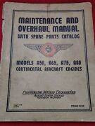 Vintage Continental Aircraft Engine Engines Maintenance And Overhaul Manual 1948
