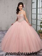 Beaded Tulle Sweet 16 Quinceanera Dresses Party Christmas Evening Ball Gown