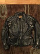 Womens Vintage Harley Davidson Leather Jacket Small Black Chains Soft Zip Up