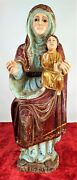 Virgin Mary With Child. Wood Carved And Polychrome. Neo-roman Style. Spain. Xx