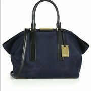 Collection Lexi Large Sueded Satchel Blue Navy Suede Handbag New
