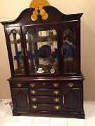 Vtg Wood China Cabinet French Country Hutch Dining Room Cupboard Lightedandnbsp