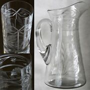Antique Handblown Etched Lrg. Crystal Pitcher_vase + 4 Glasses_no Flaws_egyptian