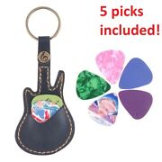 Leather Guitar Shaped Pick Case Holder Key Chain Ring Attached Accessories Gift