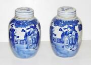 Fine Pair Chinese Kangxi Vases Immortals Scholars Pictorial Blue And White 16cm