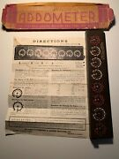 Antique Addometer Portable Adding Machine Chicago With Instruction Sheet Rare