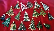 18 Vintage Christmas Tree Pins Including And Plastic