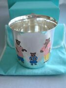 Sterling Silver Enamel Baby Child Cup 'three Bears' Rare And Fabulous