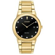 Citizen Eco-drive Axiom Menand039s Diamond Accents Gold-tone 40mm Watch Au1062-56g