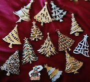 14 Vintage Silver Blue And More Christmas Tree Pins Inc. And Cocacola