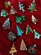 14 Vintage Christmas Tree Pins And Earrings Including