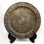 Early 20th C Antique Tin Child's Plate W/embossed Capital Letters Decorating Rim