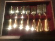Gorham Golden Ribbon Edge Stainless And Gold Accented Flatware 45 Pieces