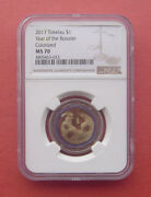 Tokelau 2017 Year Of The Rooster One Dollar Bi-metallic Colorized Coin Ngc Ms70