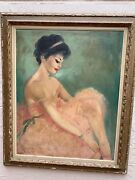 Beautiful Vintage Oil Painting Of A Ballerina In Pink Signed 40x30