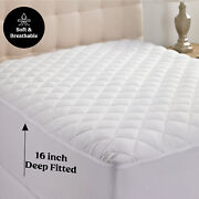 Quilted Mattress Cover Pad Protector All Sizes Cooling Breathable Fitted Topper