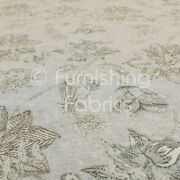 Quality Soft Chenille Woven Floral Leaf Inspired Pattern Grey Upholstery Fabric