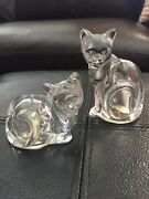 Lenox Cats Clear Crystal Sitting And Lying Down Salt And Pepper