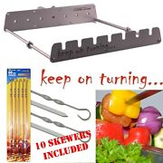 7 Skewer Motor Operated W/ Usb Kebab Shish Rotisserie Grill Rack Attachment