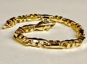 14k Solid Yellow Gold Mens Anchor Mariner Link Chain Bracelet 6 Mm 34 Grams 10