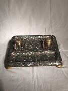 Antique Signed Mother Of Pearl Desk Set With 2 Glass Inkwells