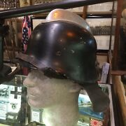 Wwii German Firefighter Helmet With Liner And Leather Neck Guard Rare