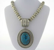 Sterling Silver Bead Necklace With Natural Chrysocolla Pendant