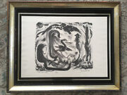 Vtg Antique Mid Century Abstract Block Print Lithograph Birds Signed Dated 1949