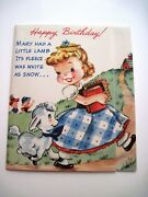 Vintage Mary Had A Little Lamb Pop-out Birthday Card W/ Moving Lamb Unused