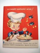 Vintage Sing A Song Of Sixpence Pop-out Birthday Card W/ Cute Birds- Unused